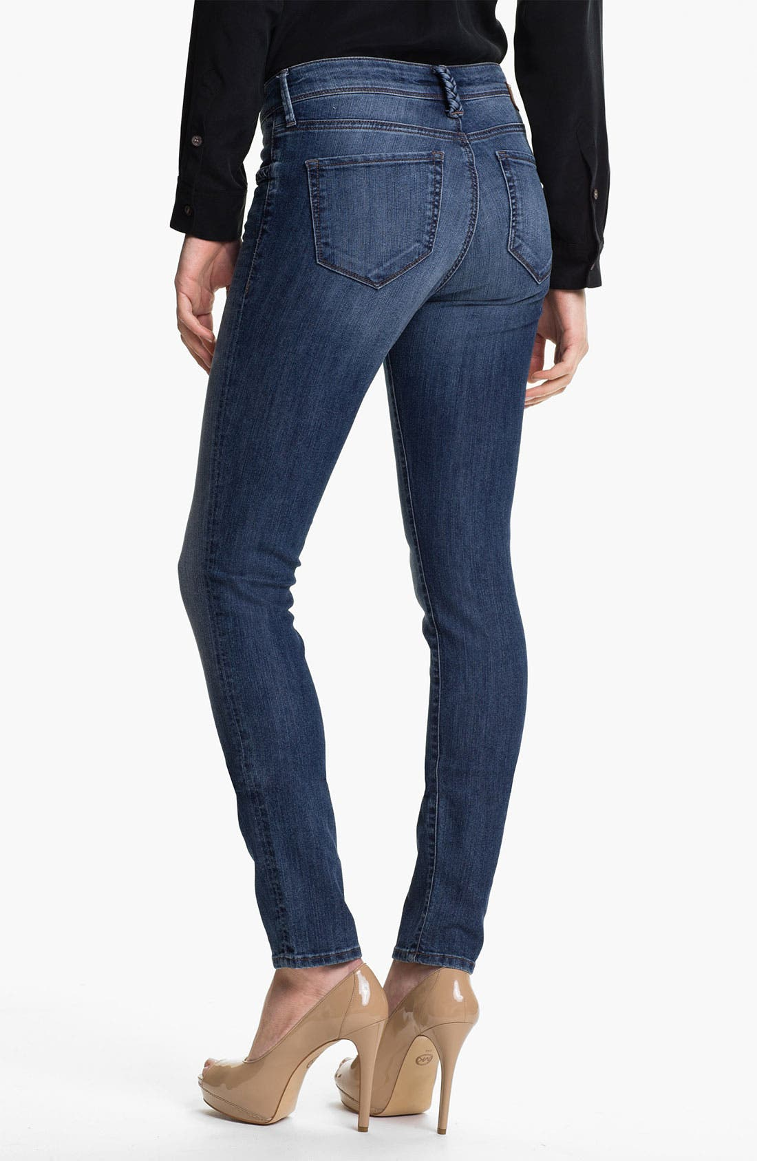 Alternate Image 2  - Mavi Jeans 'Alexa' Braid Trim Jeans (Dark)