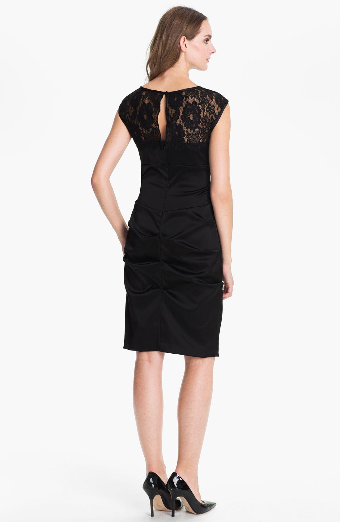 Alternate Image 2  - Xscape Lace Yoke Satin Sheath Dress