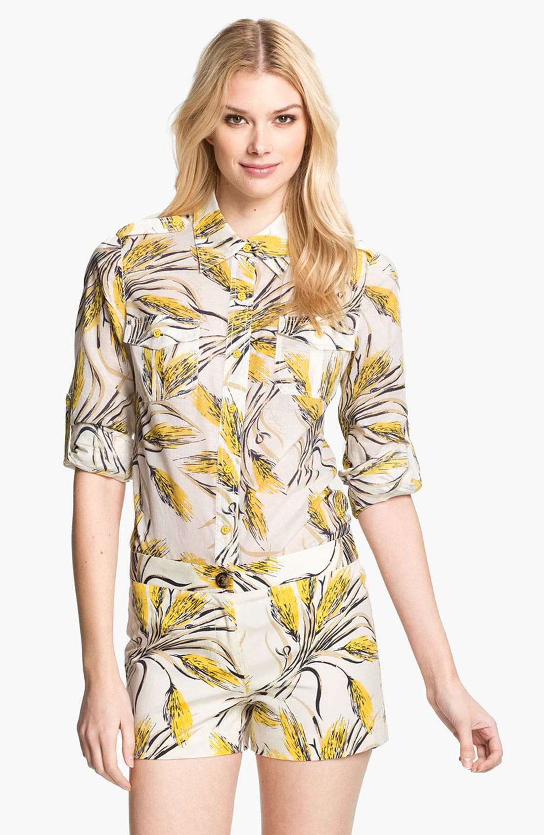 Main Image - Tory Burch 'Brigitte' Print Military Shirt