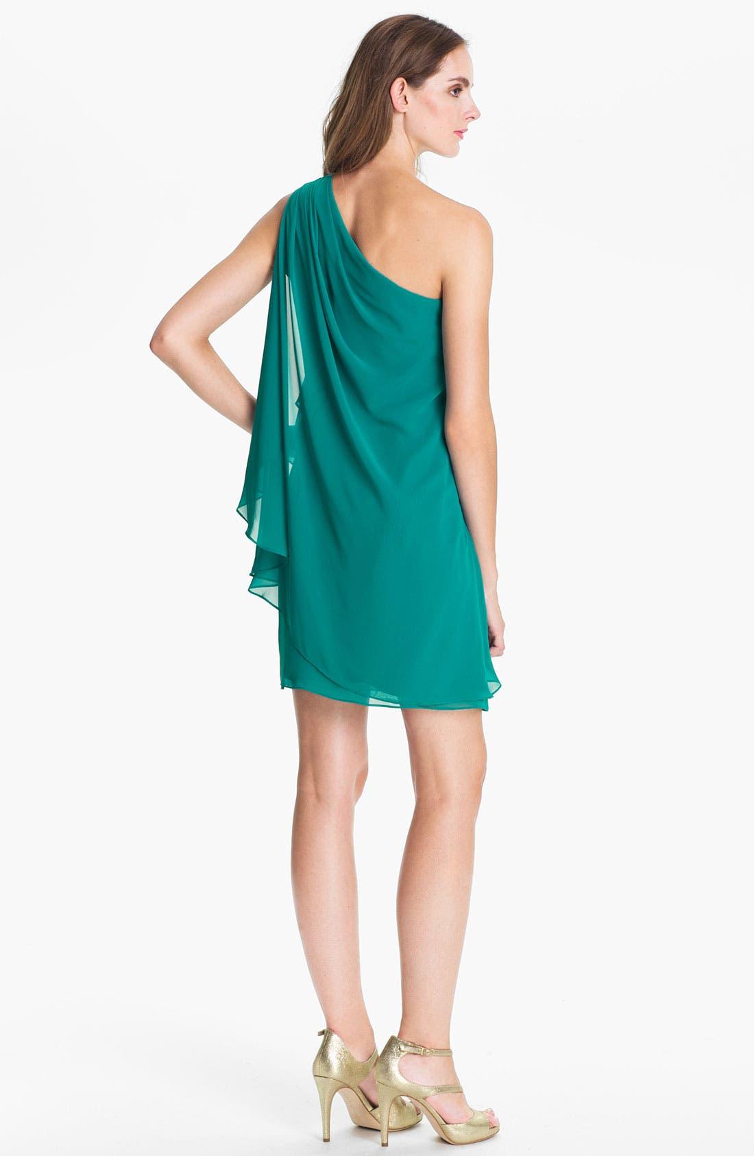 Alternate Image 2  - JS Boutique Embellished One Shoulder Chiffon Dress