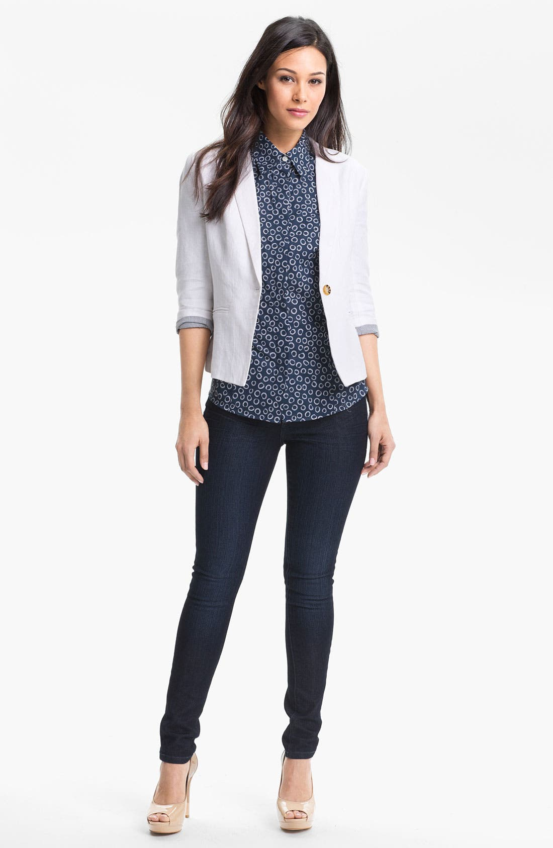 Linen Blazer,                         Main,                         color, White