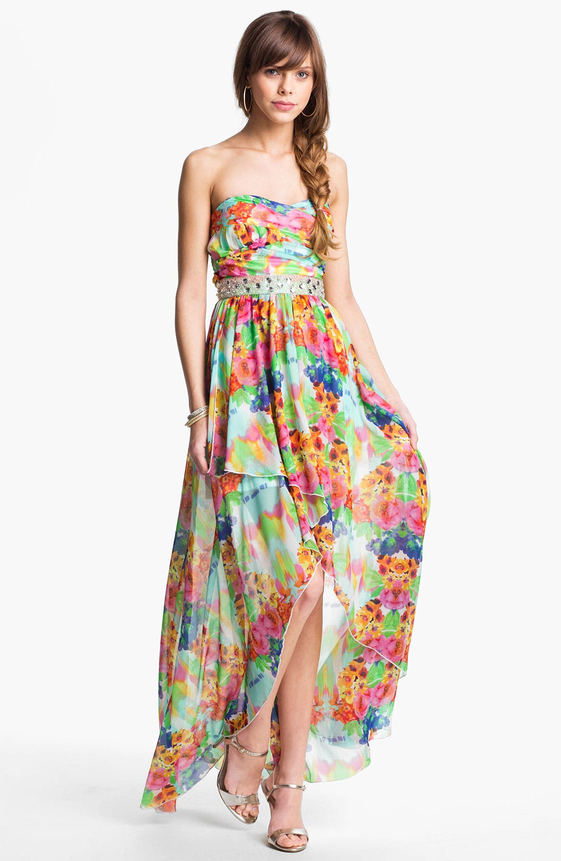 Main Image - As U Wish Floral Chiffon High/Low Gown (Juniors)