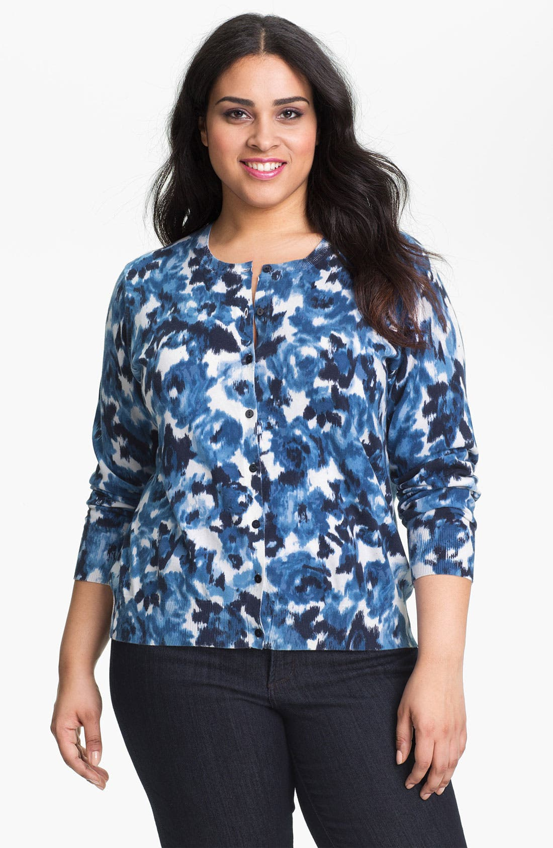 Alternate Image 1 Selected - Foxcroft Ikat Print Cardigan (Plus) (Online Only)
