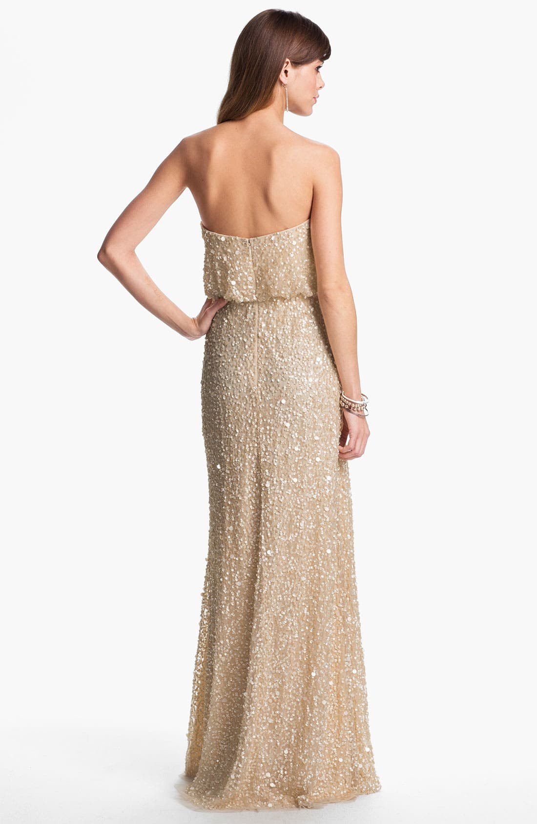 Alternate Image 2  - Adrianna Papell Sequin Coated Blouson Mesh Gown