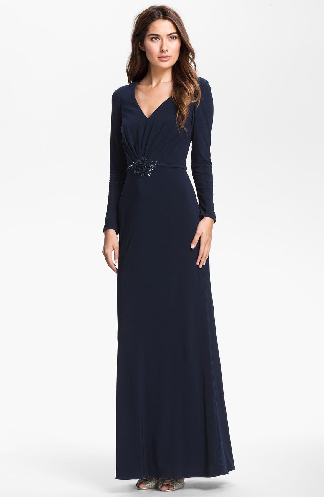 Main Image - Kathy Hilton Embellished Long Sleeve Jersey Gown