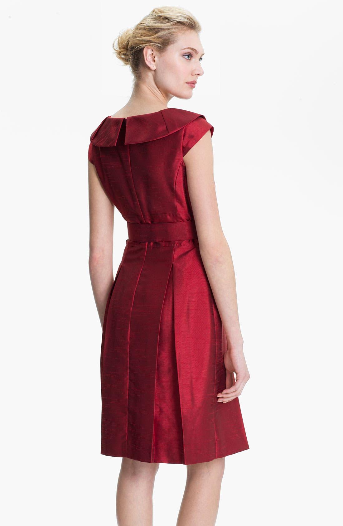 Alternate Image 2  - Tahari Belted Portrait Collar Fit & Flare Dress (Petite)