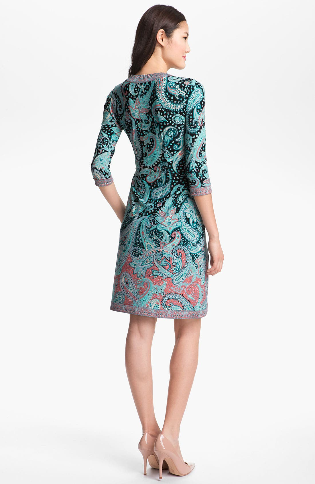 Alternate Image 2  - BCBGMAXAZRIA Print Jersey Wrap Dress