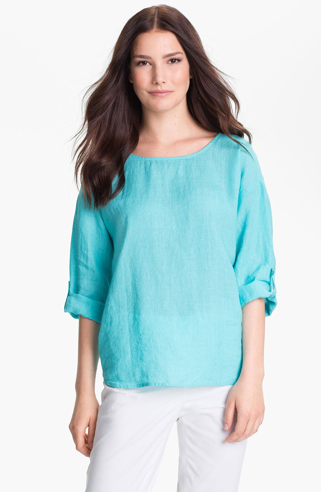 Main Image - Eileen Fisher Ballet Neck Three Quarter Roll Sleeve Top