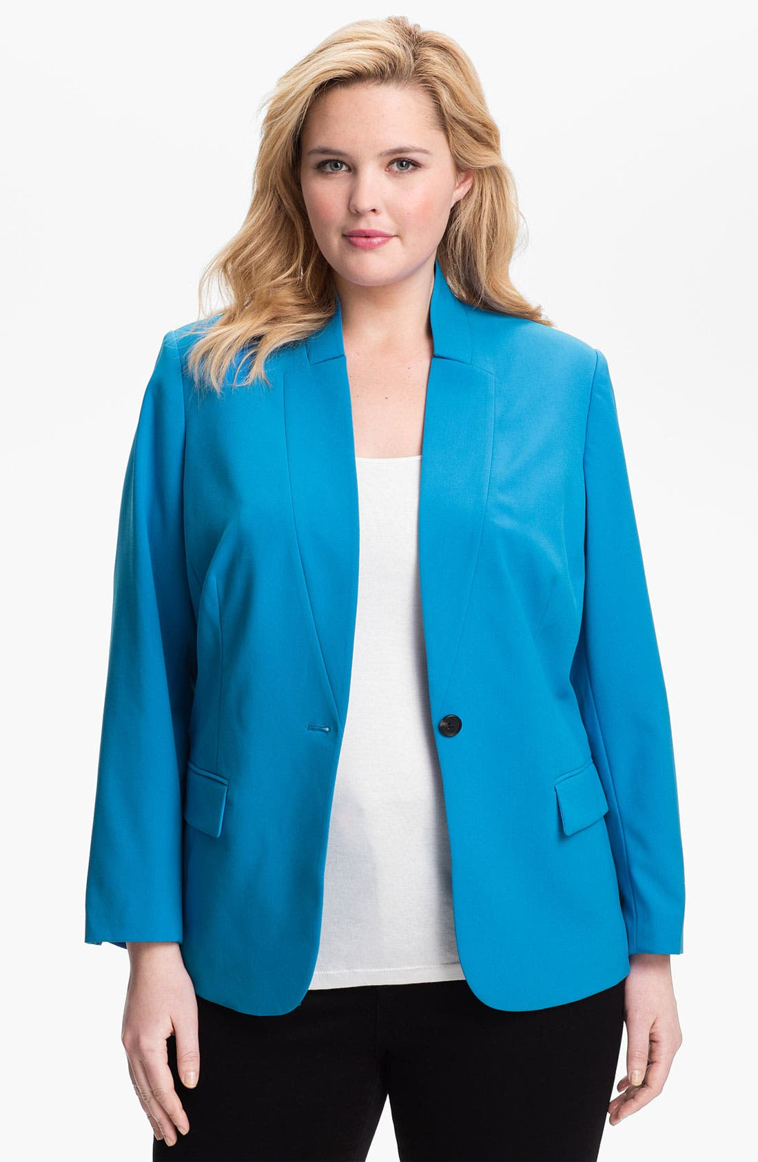 Main Image - Vince Camuto Inverted Notch Blazer (Plus Size)