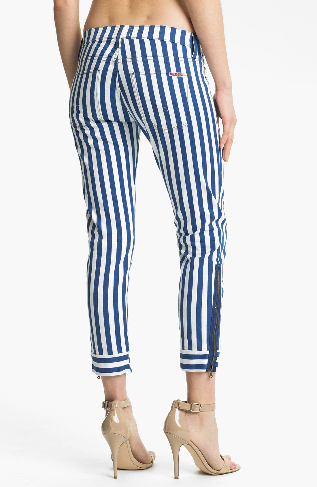 Alternate Image 2  - Hudson Jeans Crop Super Skinny Jeans (Navy/White Stripe)