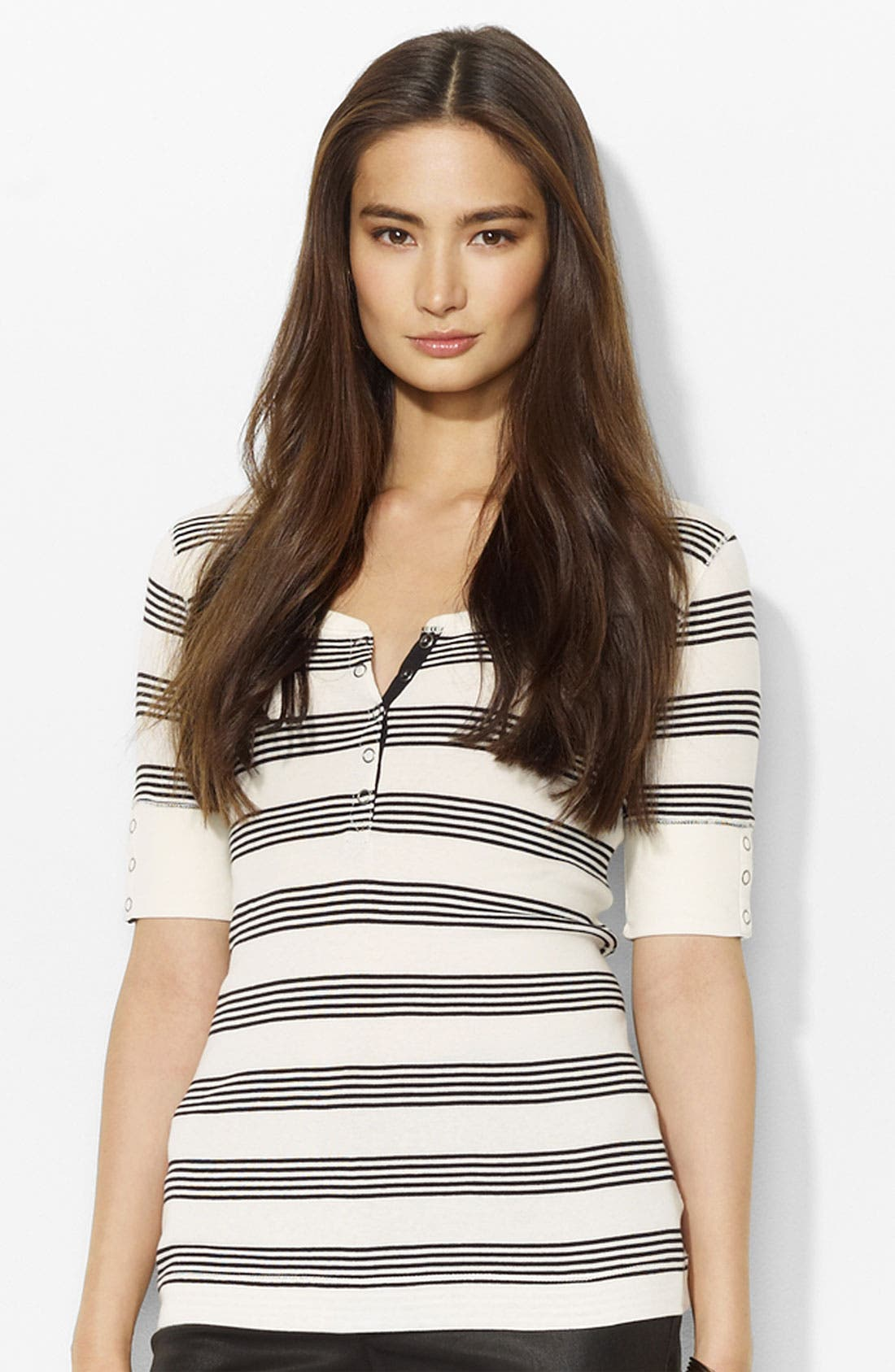 Alternate Image 1 Selected - Lauren Ralph Lauren Stripe Henley Tee (Petite) (Online Exclusive)