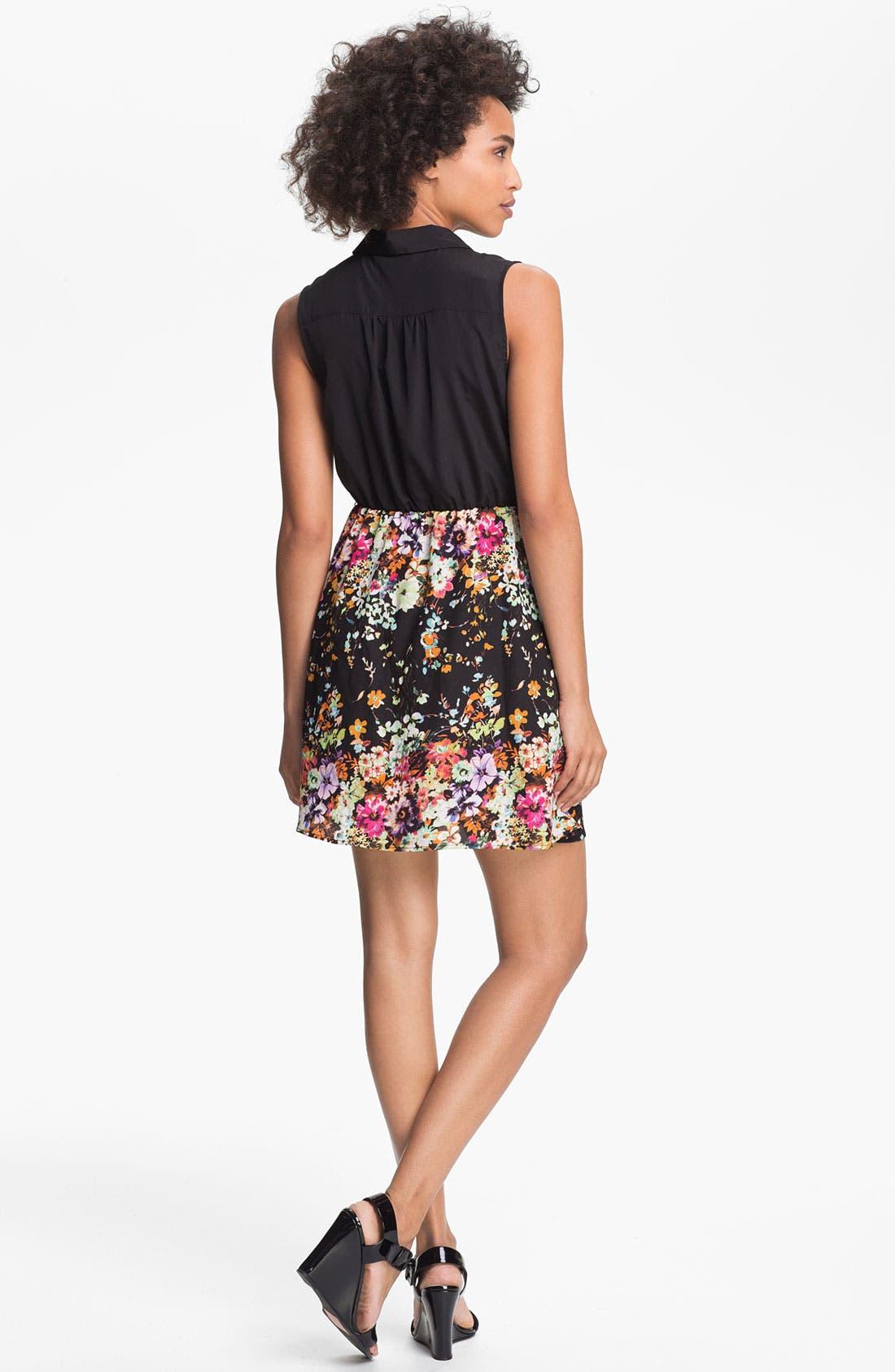 Alternate Image 2  - Olive & Oak Floral Print Shirtdress
