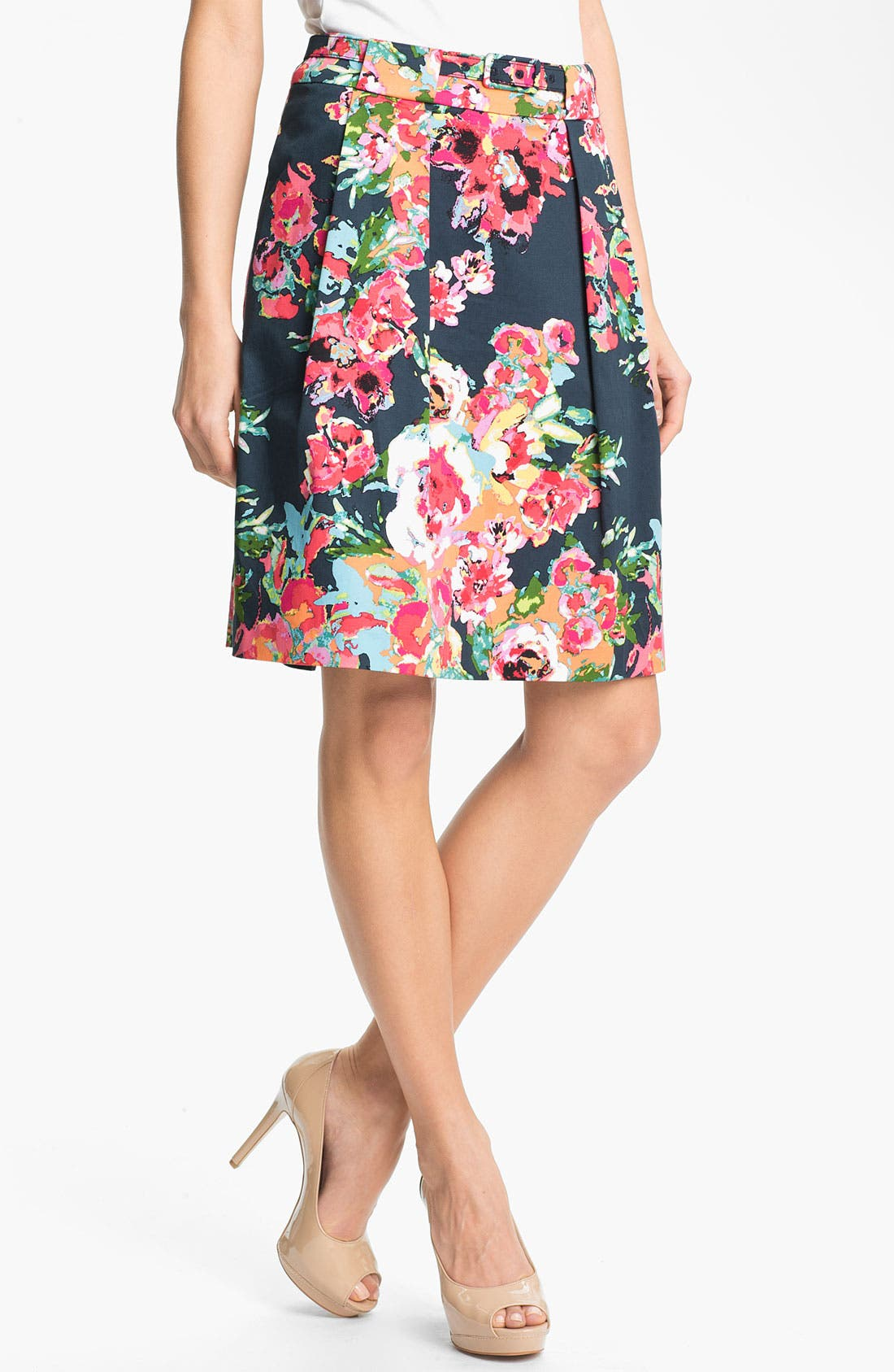 Alternate Image 1 Selected - Adrianna Papell Belted Print Skirt