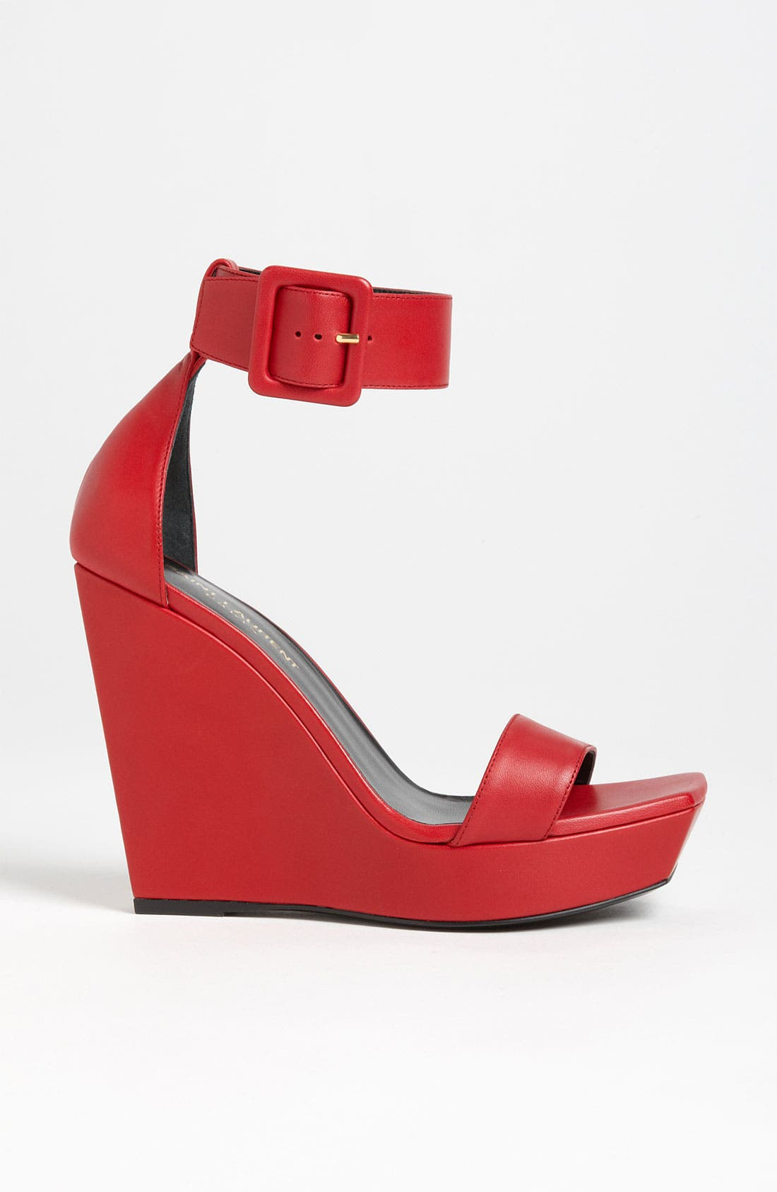Ankle Strap Wedge Sandal,                             Alternate thumbnail 4, color,                             Red