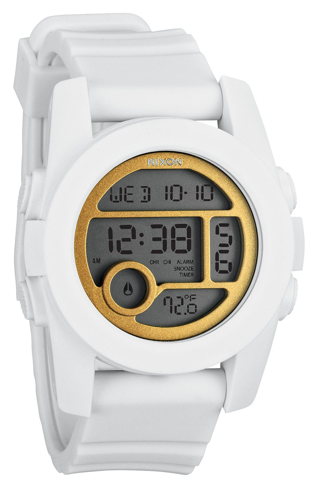 'The Unit 40' Round Digital Watch, 40mm,                             Main thumbnail 1, color,                             White/ Gold