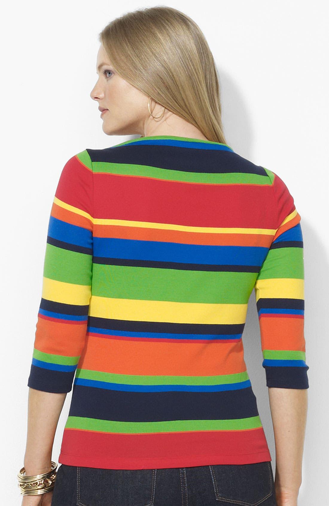 Alternate Image 2  - Lauren Ralph Lauren Stripe Cotton Top (Plus)