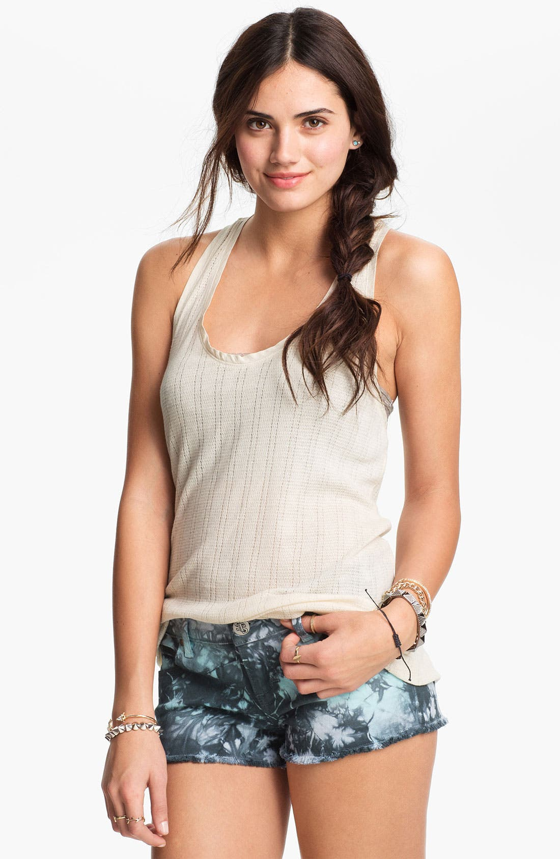 Alternate Image 1 Selected - Rubbish Pointelle Stripe Tank (Juniors)