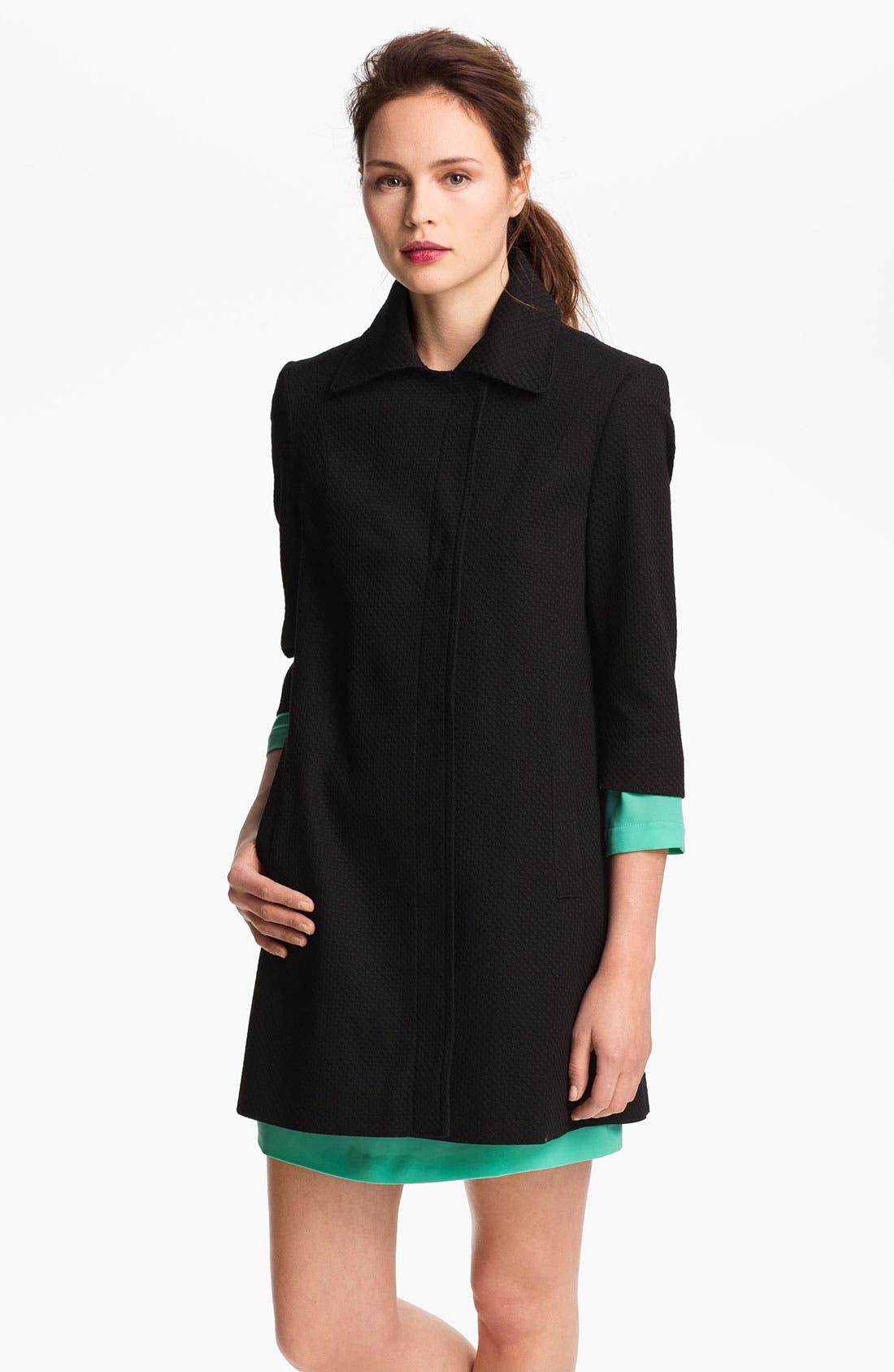 Three Quarter Sleeve Walking Coat,                         Main,                         color, Black