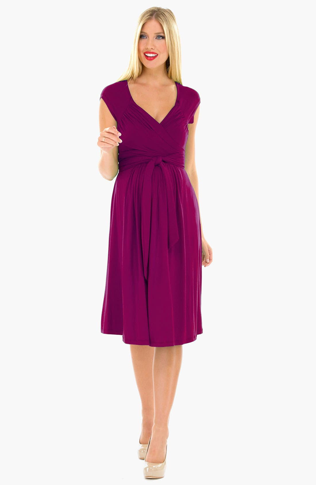 Main Image - Olian Ruched Shoulder Maternity Dress