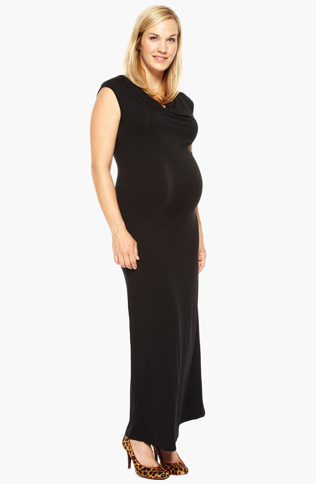 Main Image - Nom Maternity 'Lucia' Cowl Neck Maternity Maxi Dress