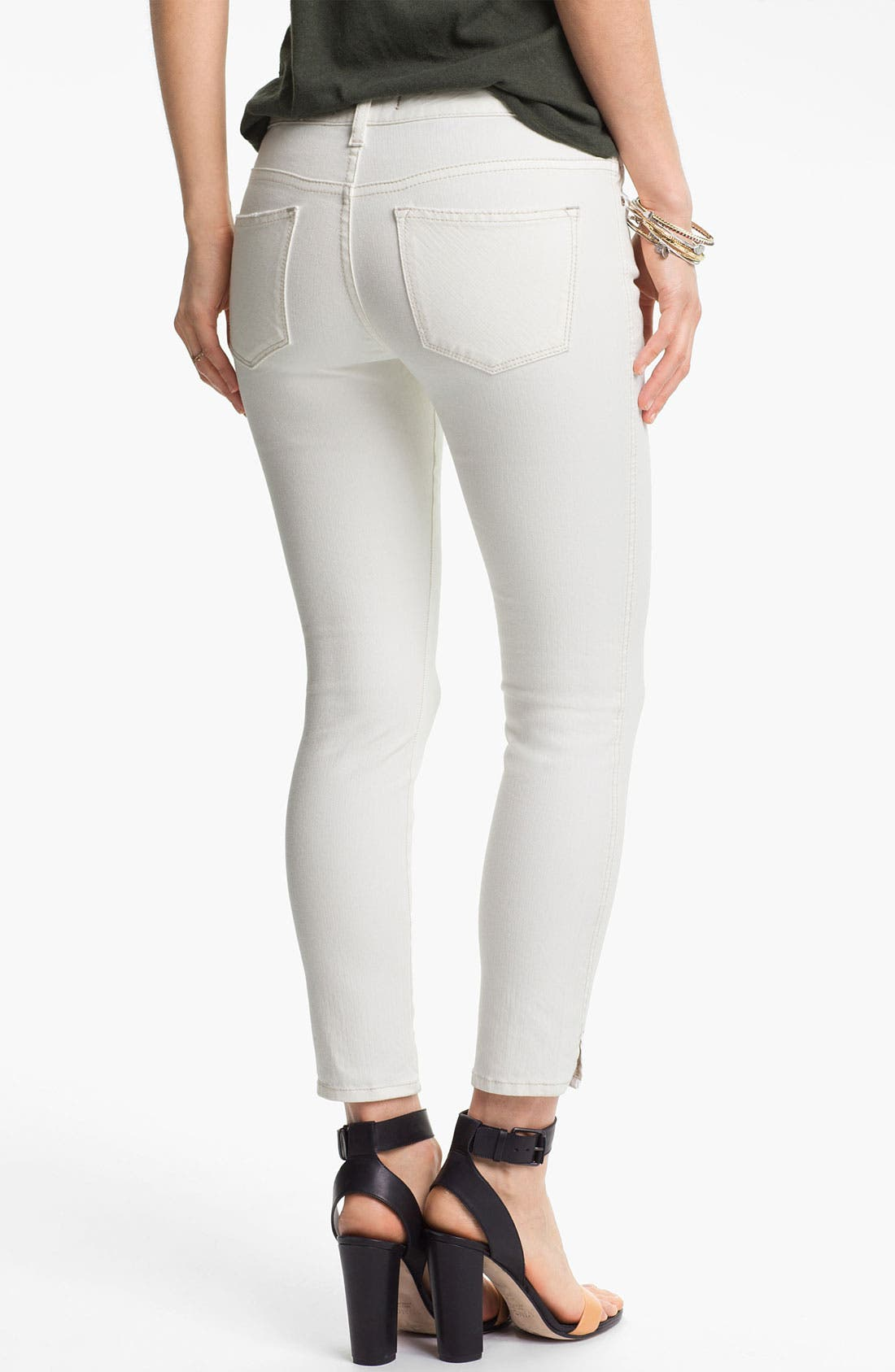 Alternate Image 2  - Free People Crop Stretch Denim Skinny Jeans (White)