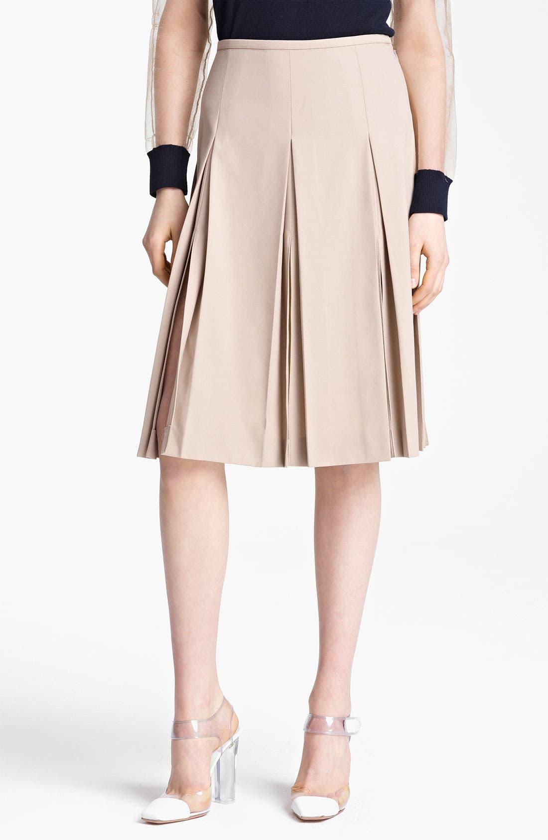 Alternate Image 1 Selected - Michael Kors Pleated Wool Serge Skirt