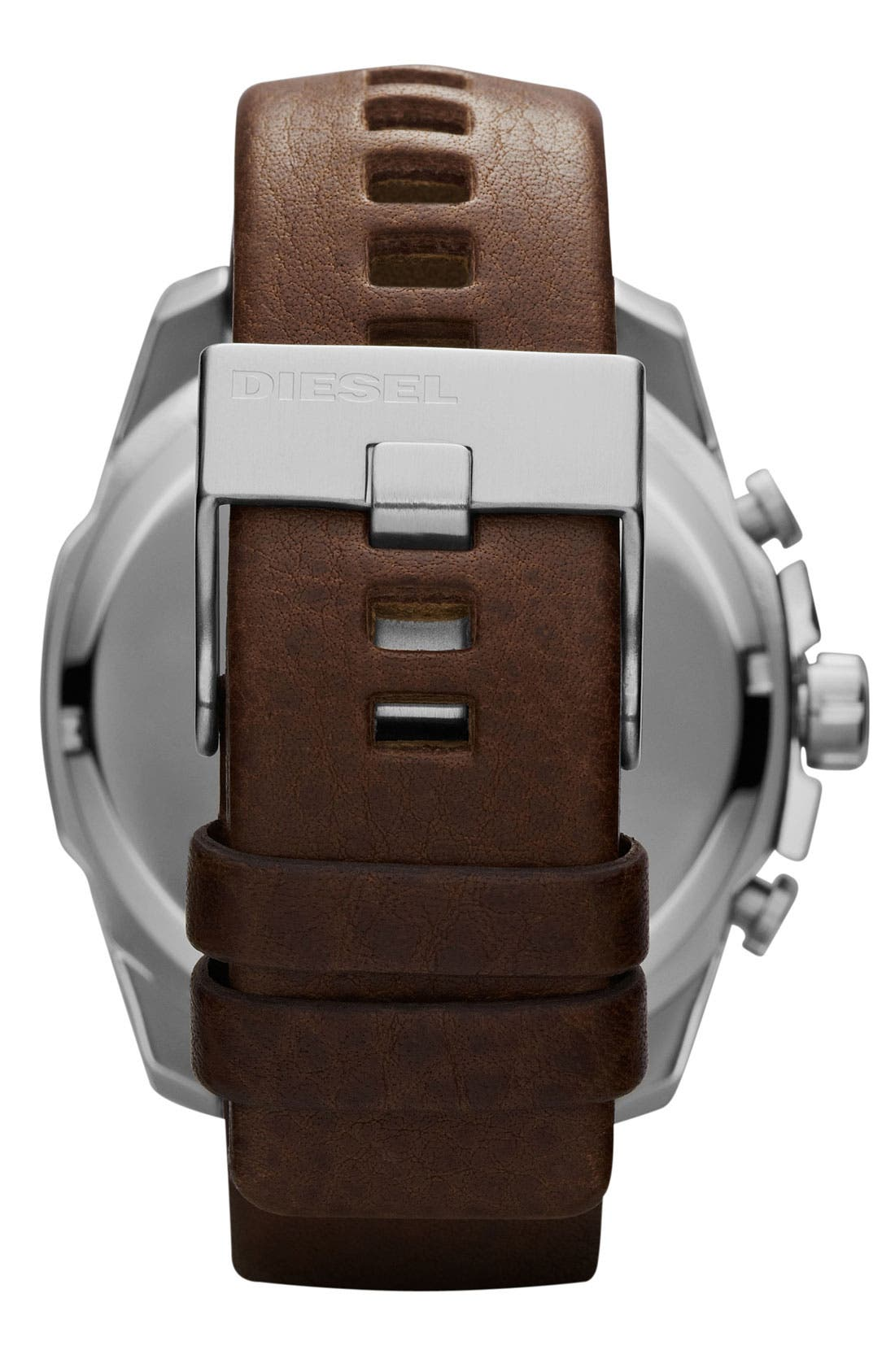 Alternate Image 3  - DIESEL® 'Mega Chief' Leather Strap Watch, 51mm