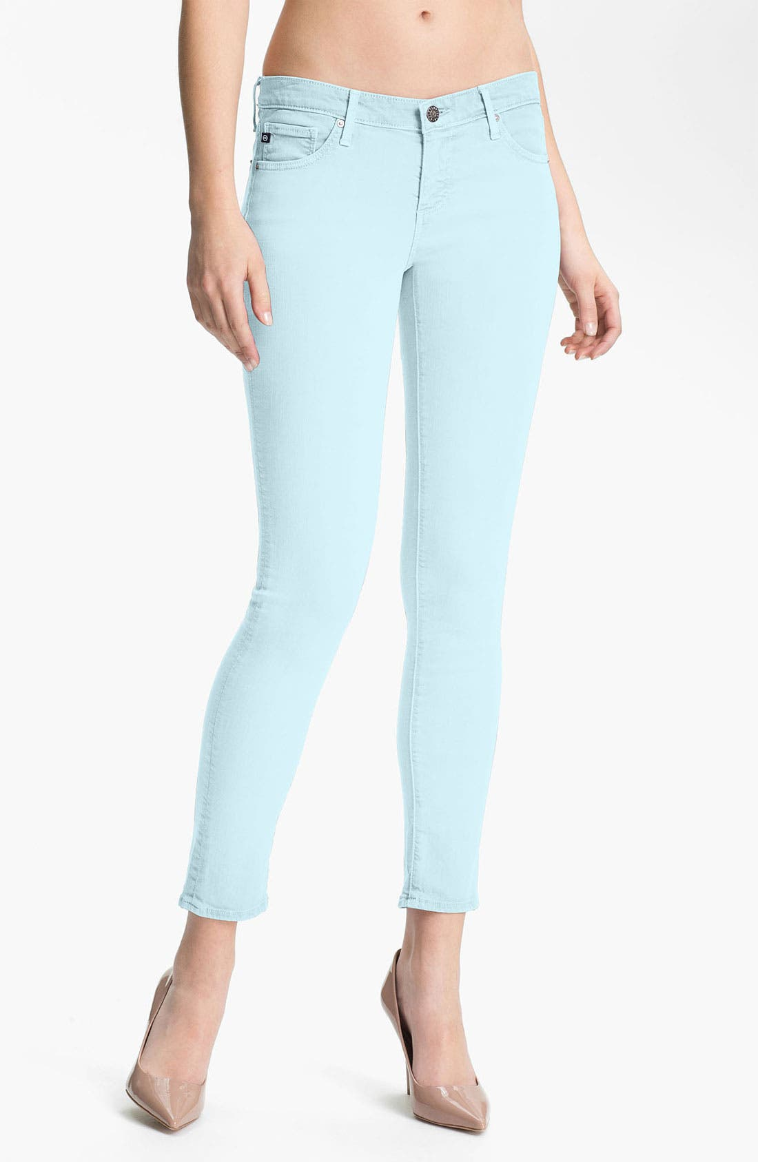 Alternate Image 1 Selected - AG Twill Ankle Leggings (Pigment Ice Blue)