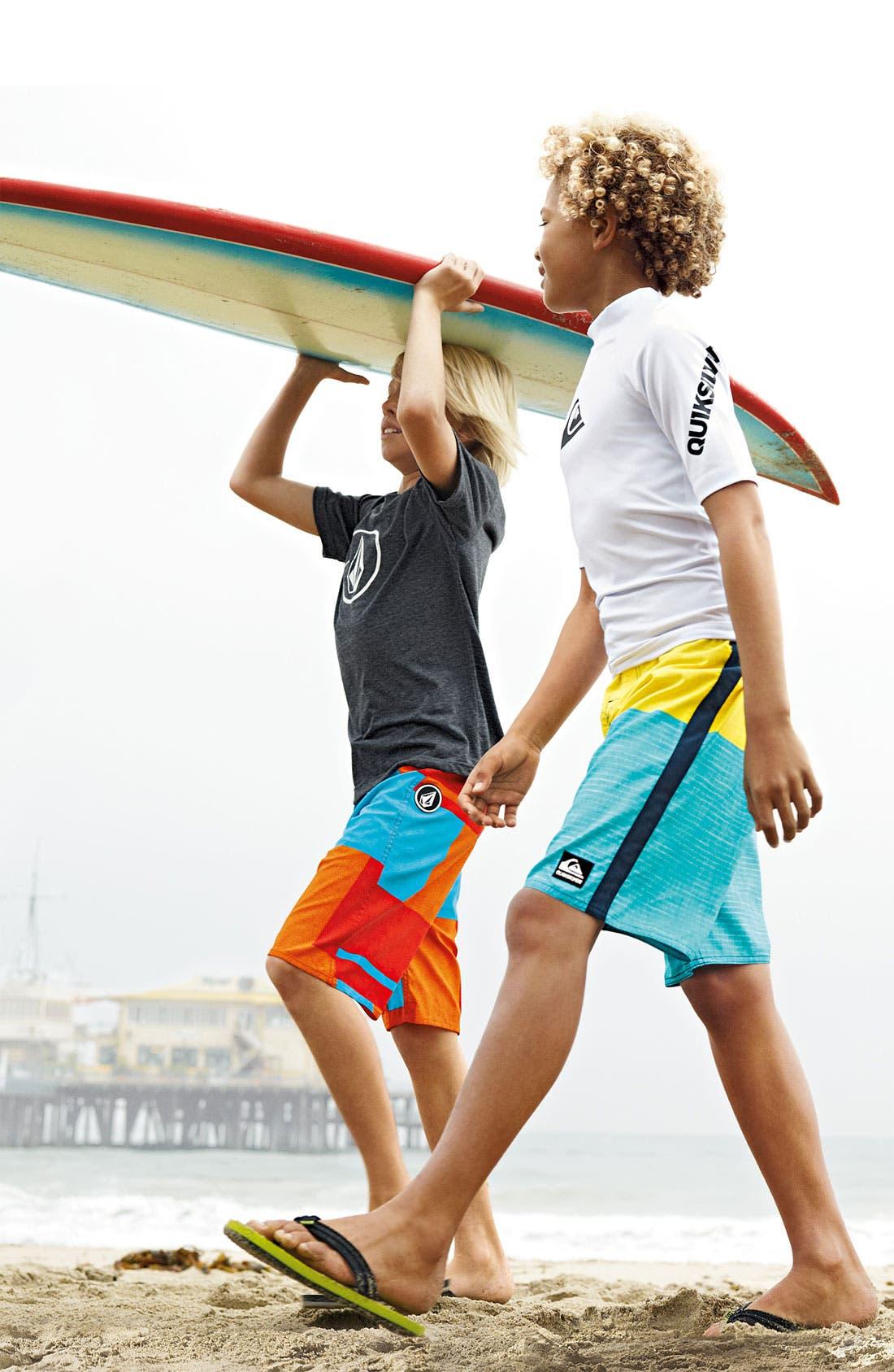 Main Image - Volcom T-Shirt, Board Shorts & Sandal (Big Boys)