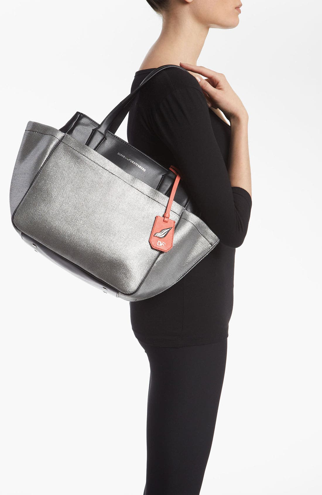 Alternate Image 2  - Diane von Furstenberg 'On The Go' Metallic Canvas & Leather Tote