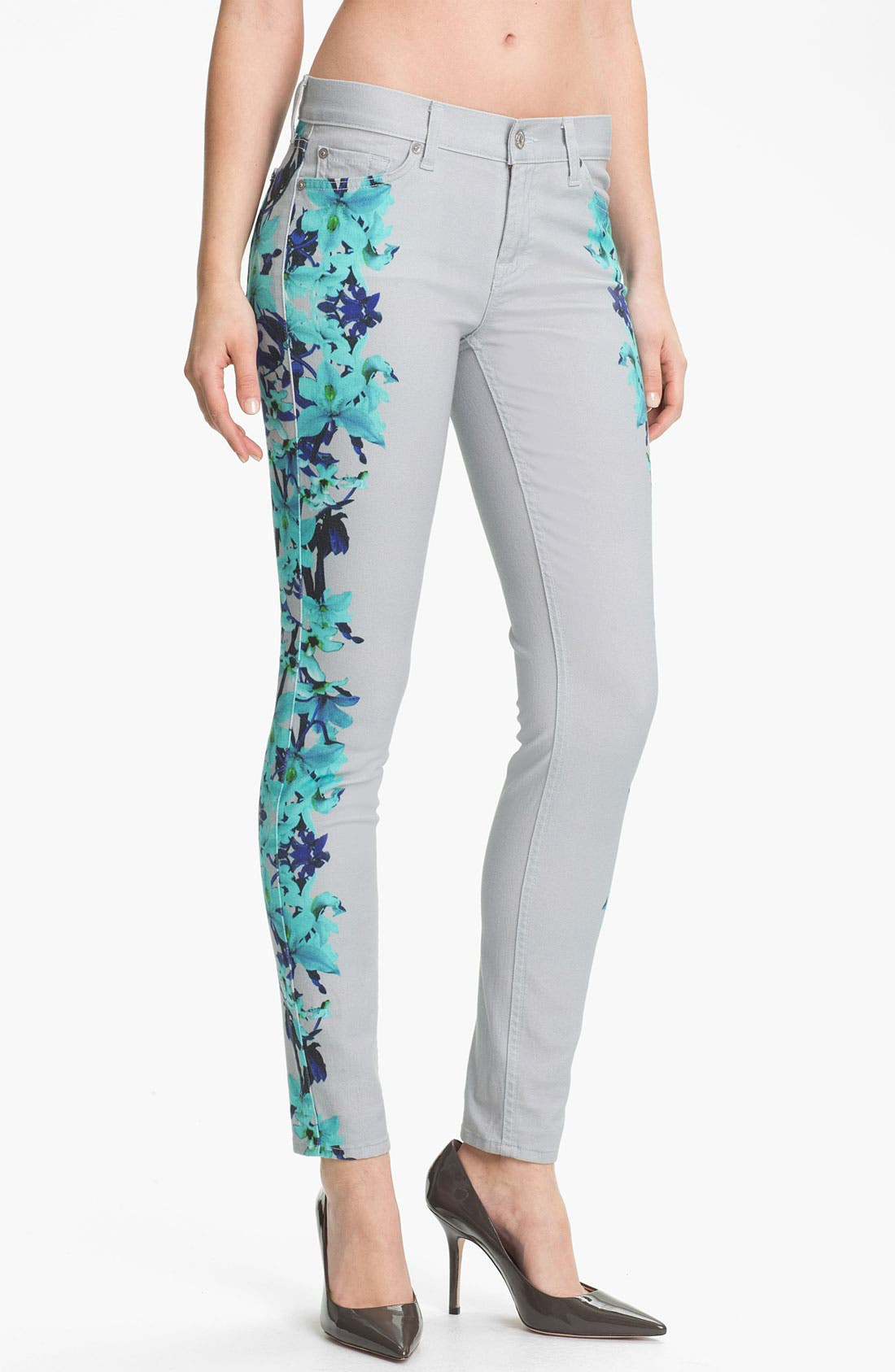 Alternate Image 1 Selected - 7 For All Mankind® 'The Skinny' Placement Print Jeans