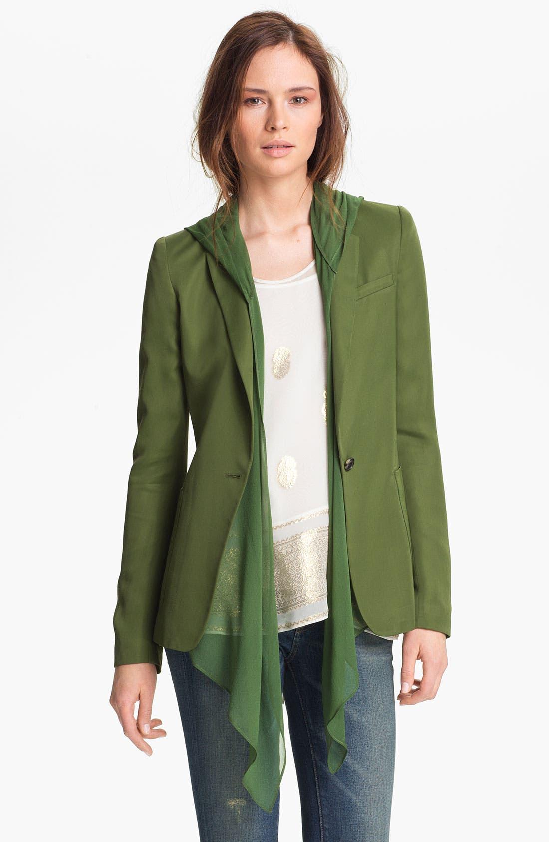 Alternate Image 3  - Elizabeth and James 'Mona' Hooded Crepe Vest & Satin Jacket