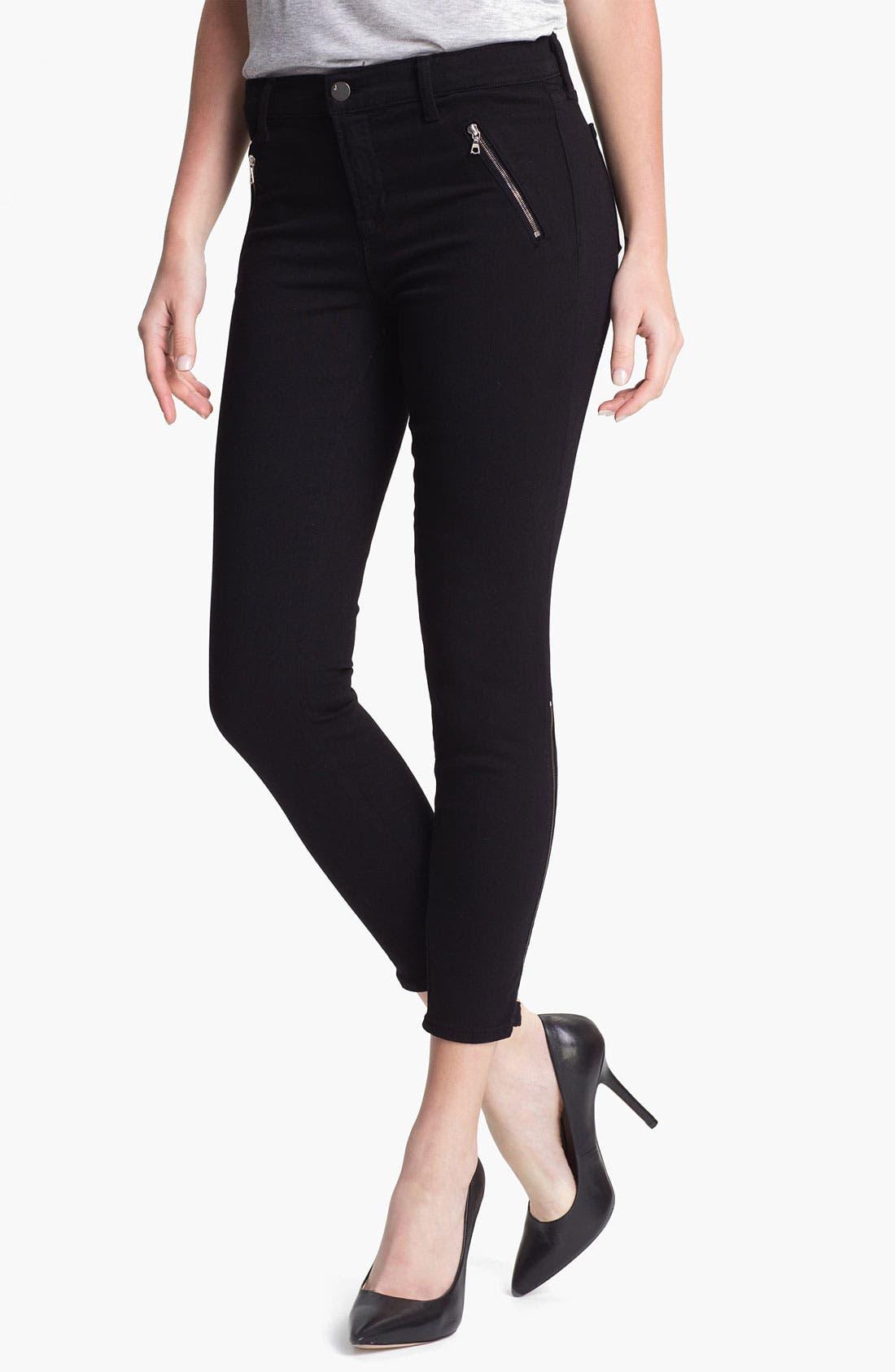 Main Image - J Brand 'Carey' Zip Detail Moto Skinny Jeans (Black)