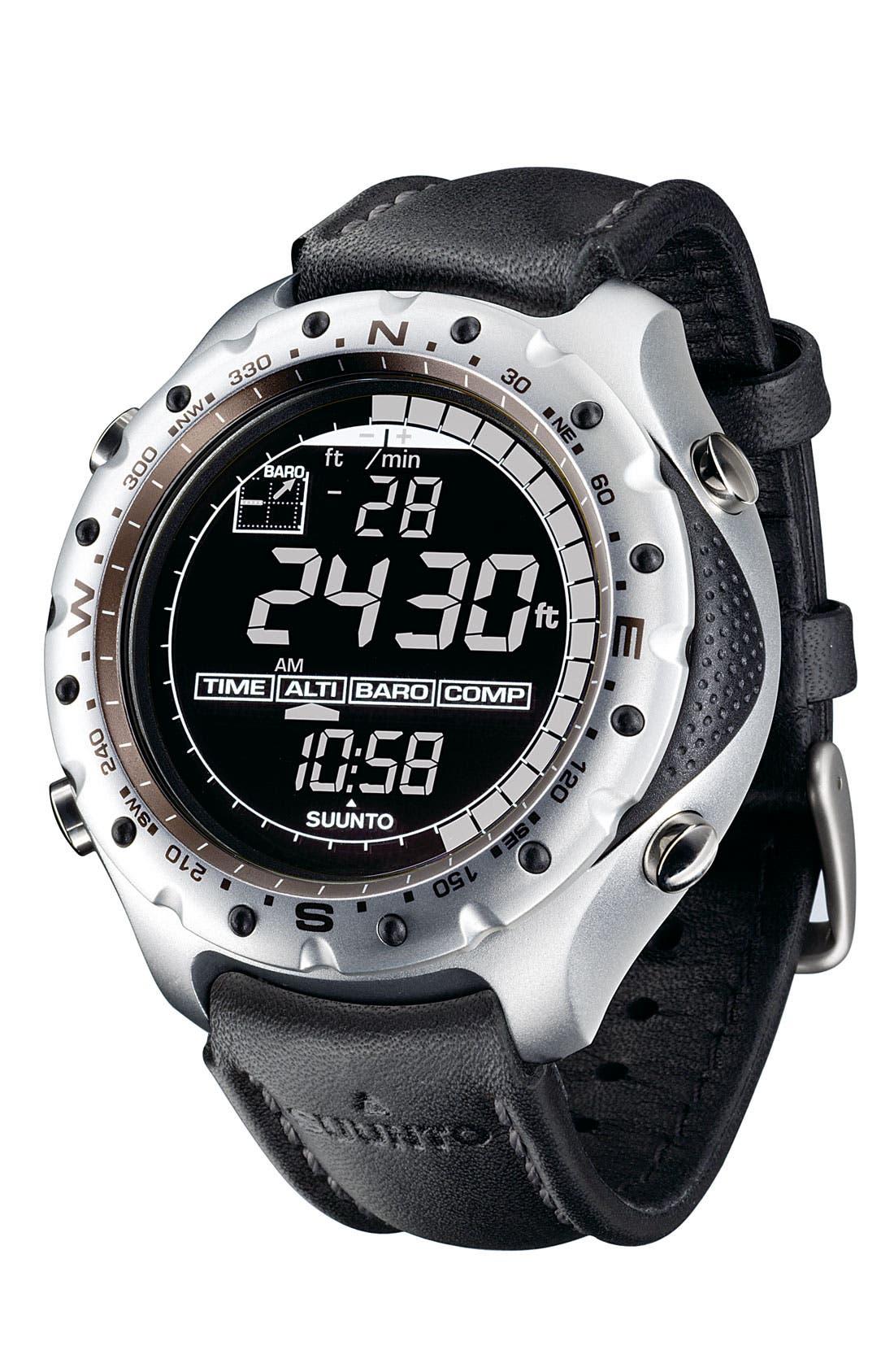 Alternate Image 2  - Suunto 'X-Lander' Multifunction Leather Strap Watch, 52mm