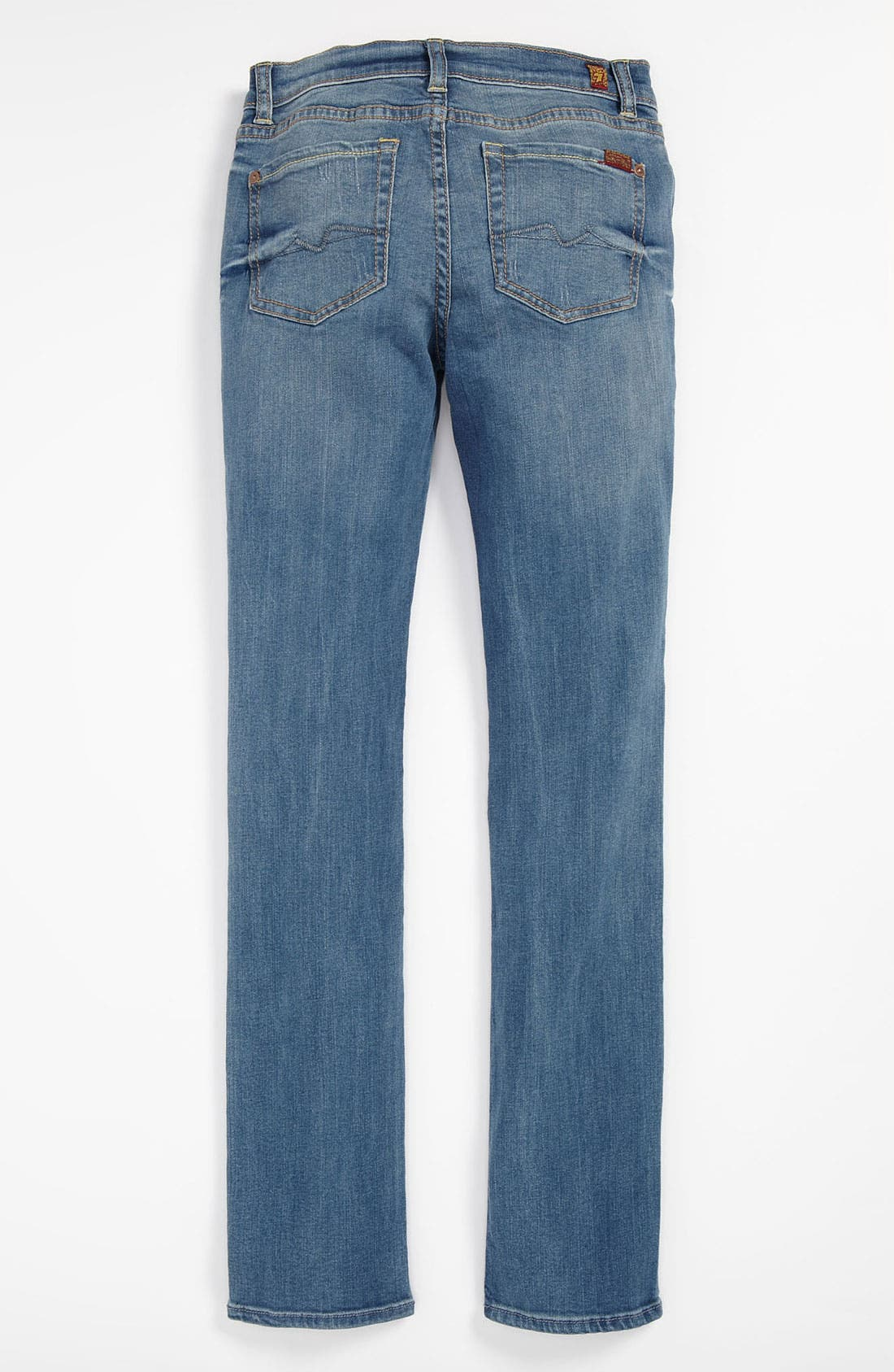 Main Image - 7 For All Mankind® Distressed Straight Leg Jeans (Big Girls)