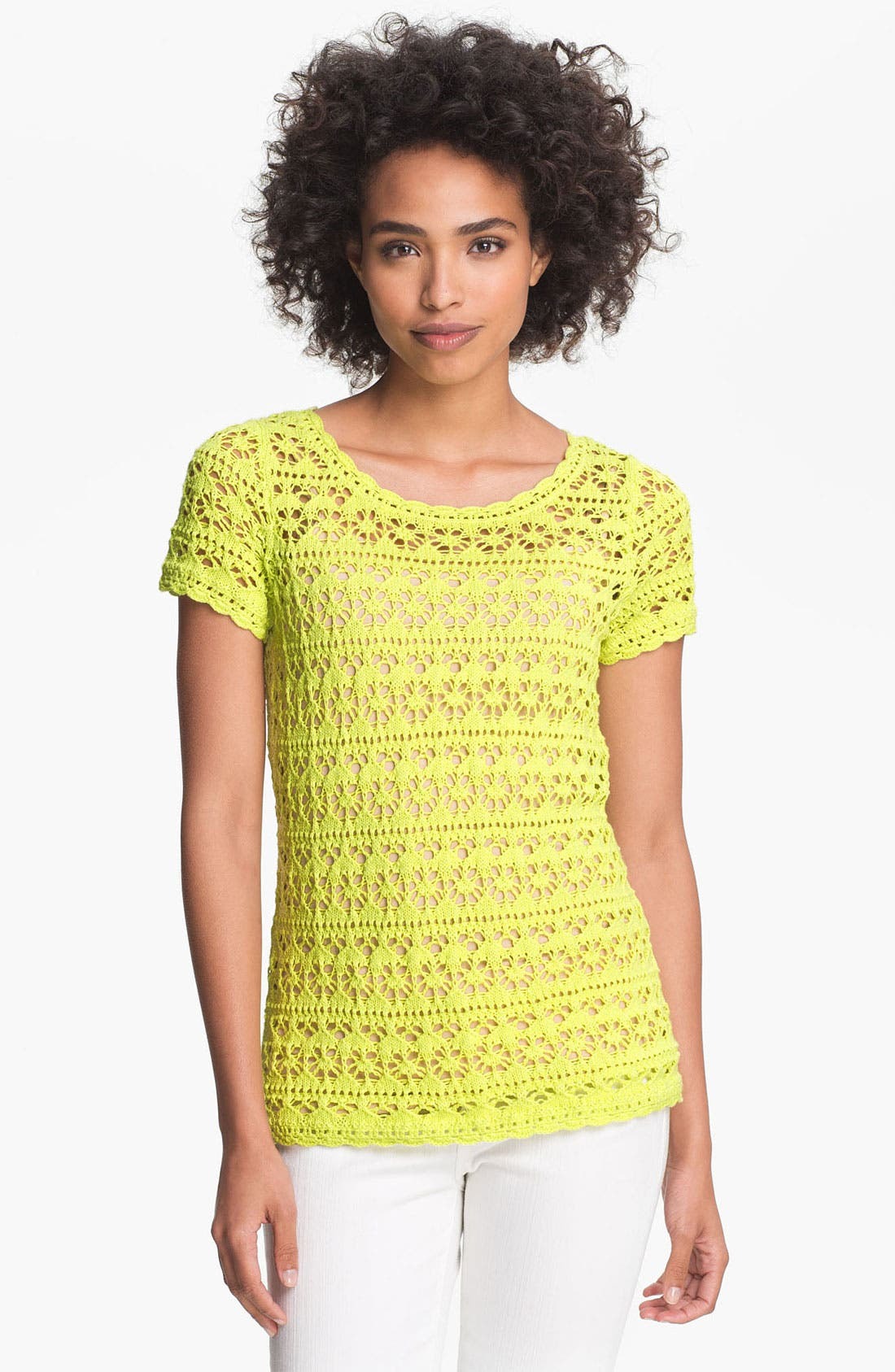Alternate Image 1 Selected - Vince Camuto Cap Sleeve Pointelle Sweater