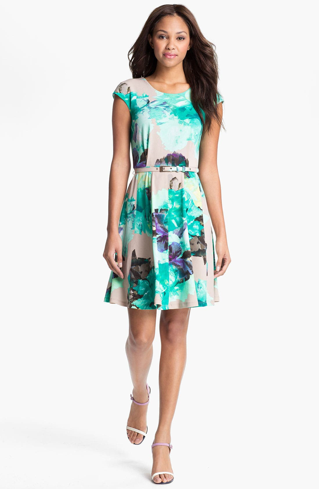 Main Image - Alex & Ava Print Fit & Flare Dress