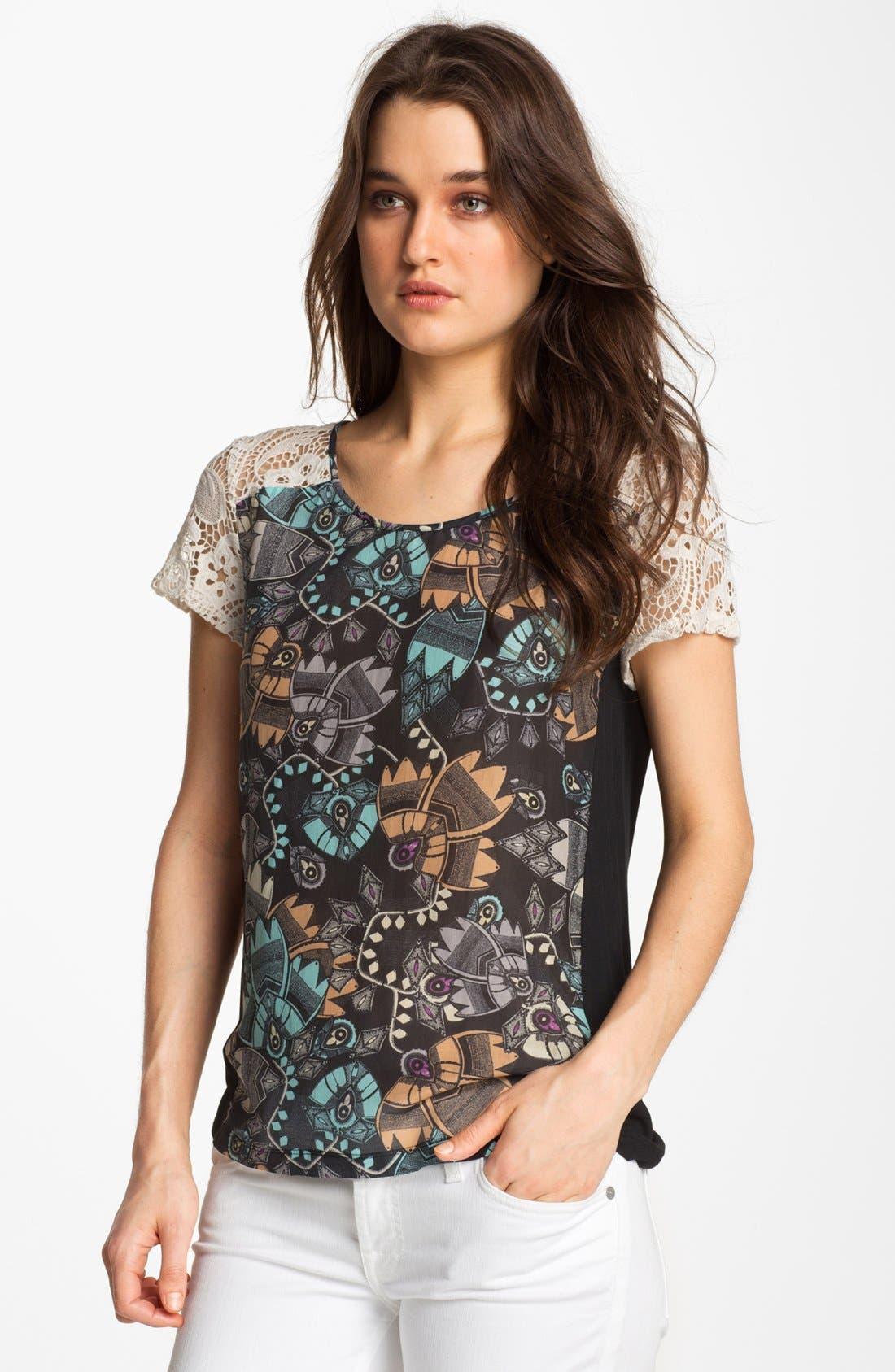 Main Image - Hinge® Crochet Lace & Print Top