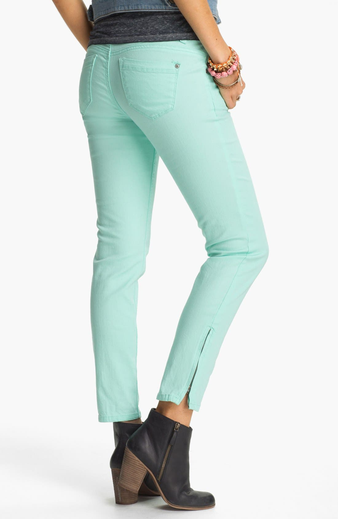 Main Image - Jolt Ankle Zip Skinny Jeans (Juniors)