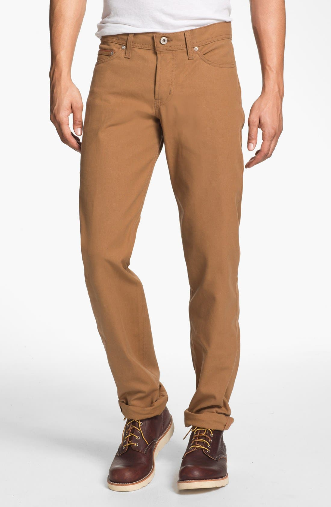 Alternate Image 1 Selected - Naked & Famous Denim Weird Guy Slim Selvedge Duck Canvas Jeans (Vintage Brown Khaki)