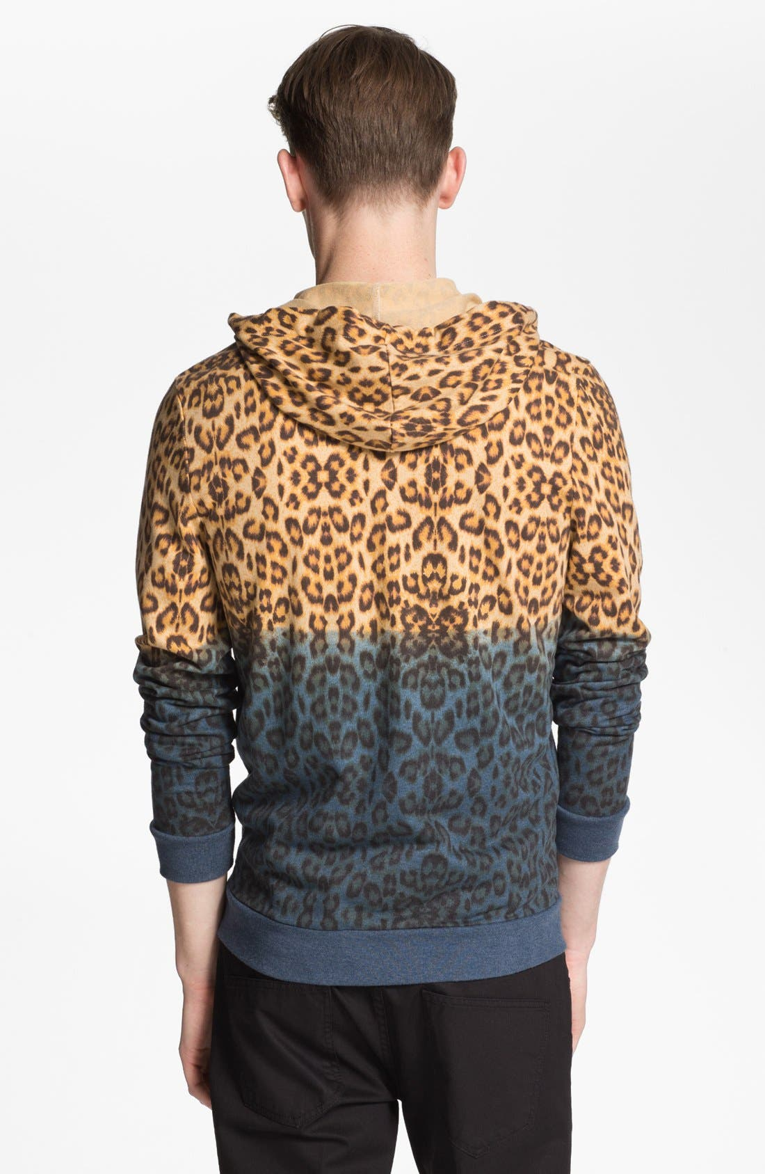 Alternate Image 2  - Topman Dip Dye Leopard Print Zip Hoodie