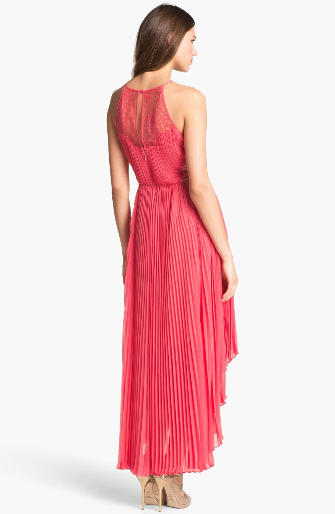 Alternate Image 2  - BCBGMAXAZRIA Pleated Lace & Chiffon High/Low Dress