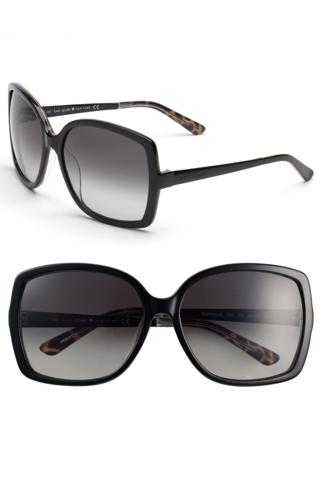 Alternate Image 1 Selected - kate spade new york 'darryl' 59mm oversized sunglasses