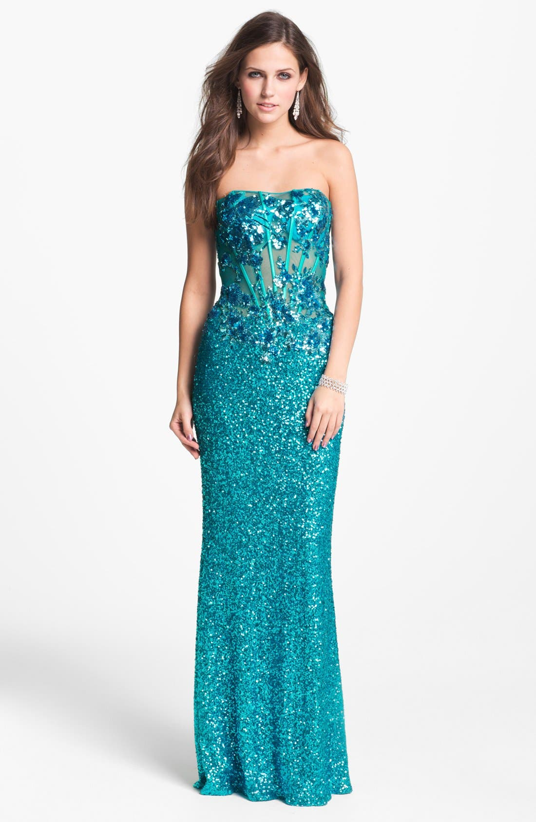 Alternate Image 1 Selected - Faviana Strapless Sequin Gown (Online Exclusive)