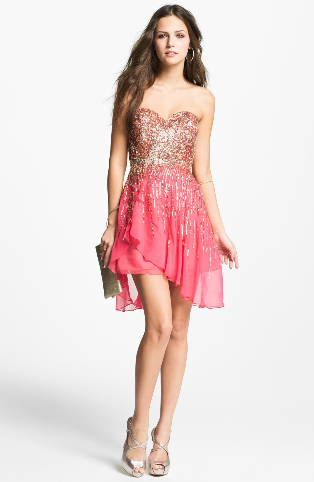 Main Image - Sherri Hill Embellished Sweetheart Silk Chiffon Dress (Online Exclusive)