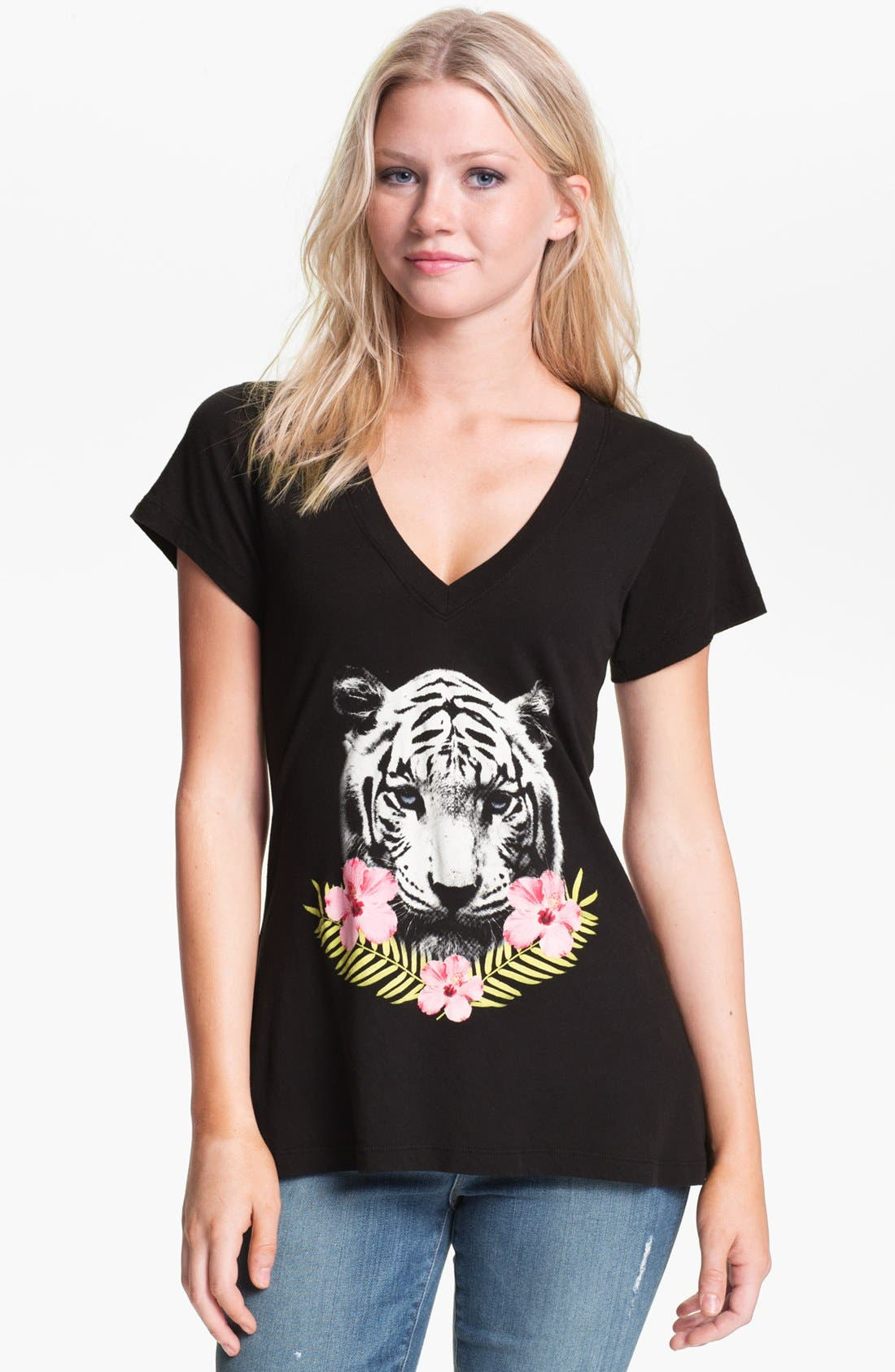 Main Image - Wildfox Tiger Graphic V-Neck Tee