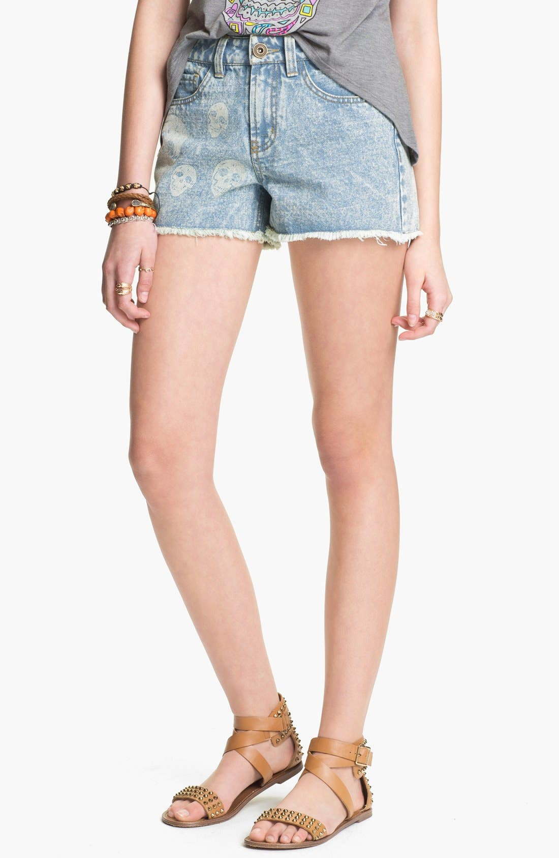 Main Image - Fire Bleached Skull High Waist Denim Cutoffs (Juniors)
