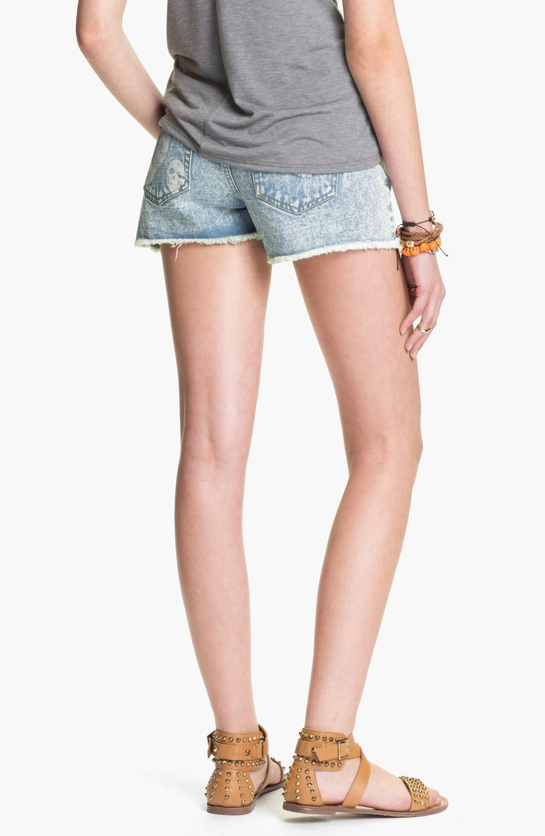 Alternate Image 2  - Fire Bleached Skull High Waist Denim Cutoffs (Juniors)