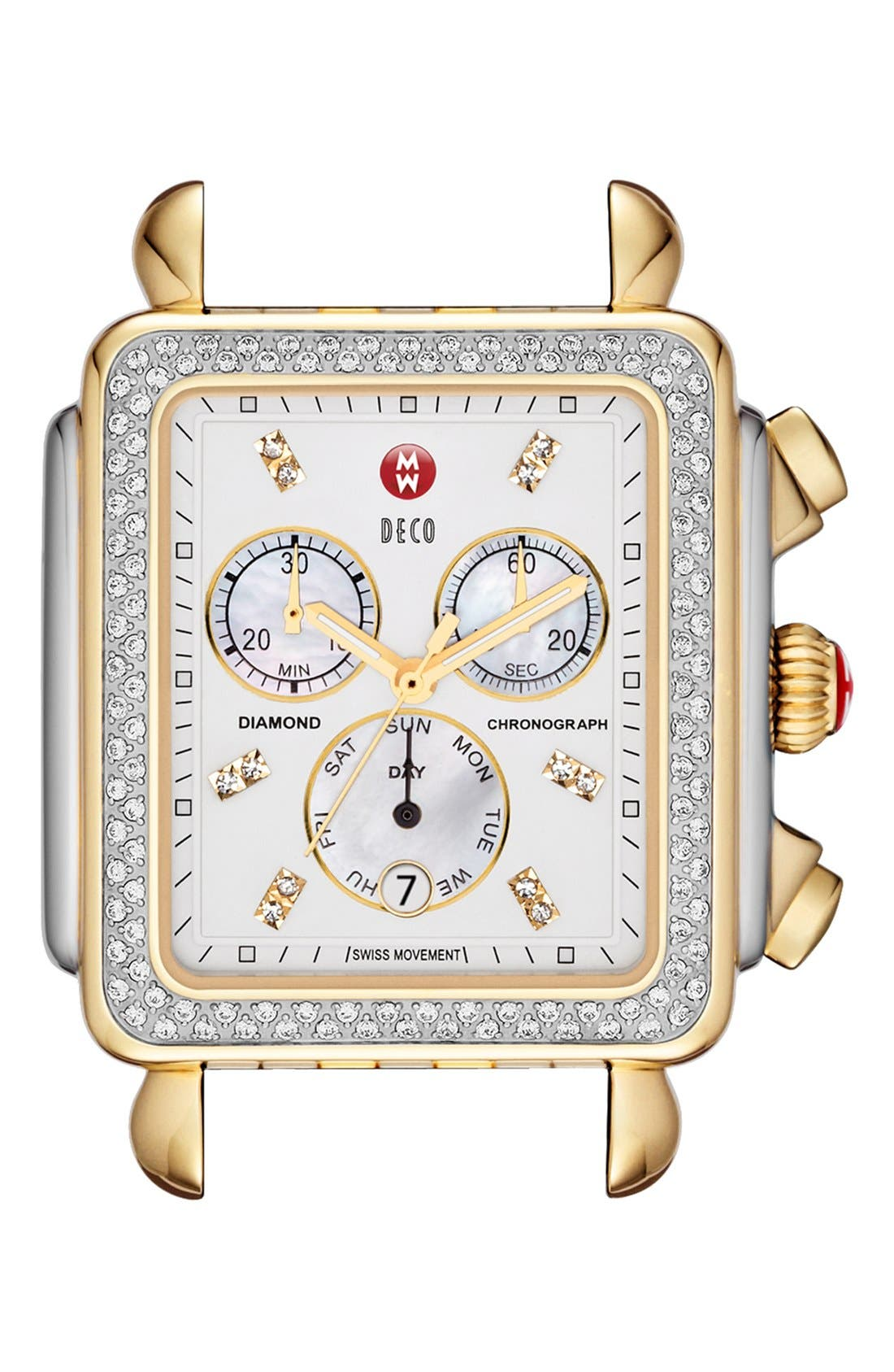 Main Image - MICHELE 'Deco XL Diamond' Diamond Dial Two-Tone Watch Case, 37mm x 38mm
