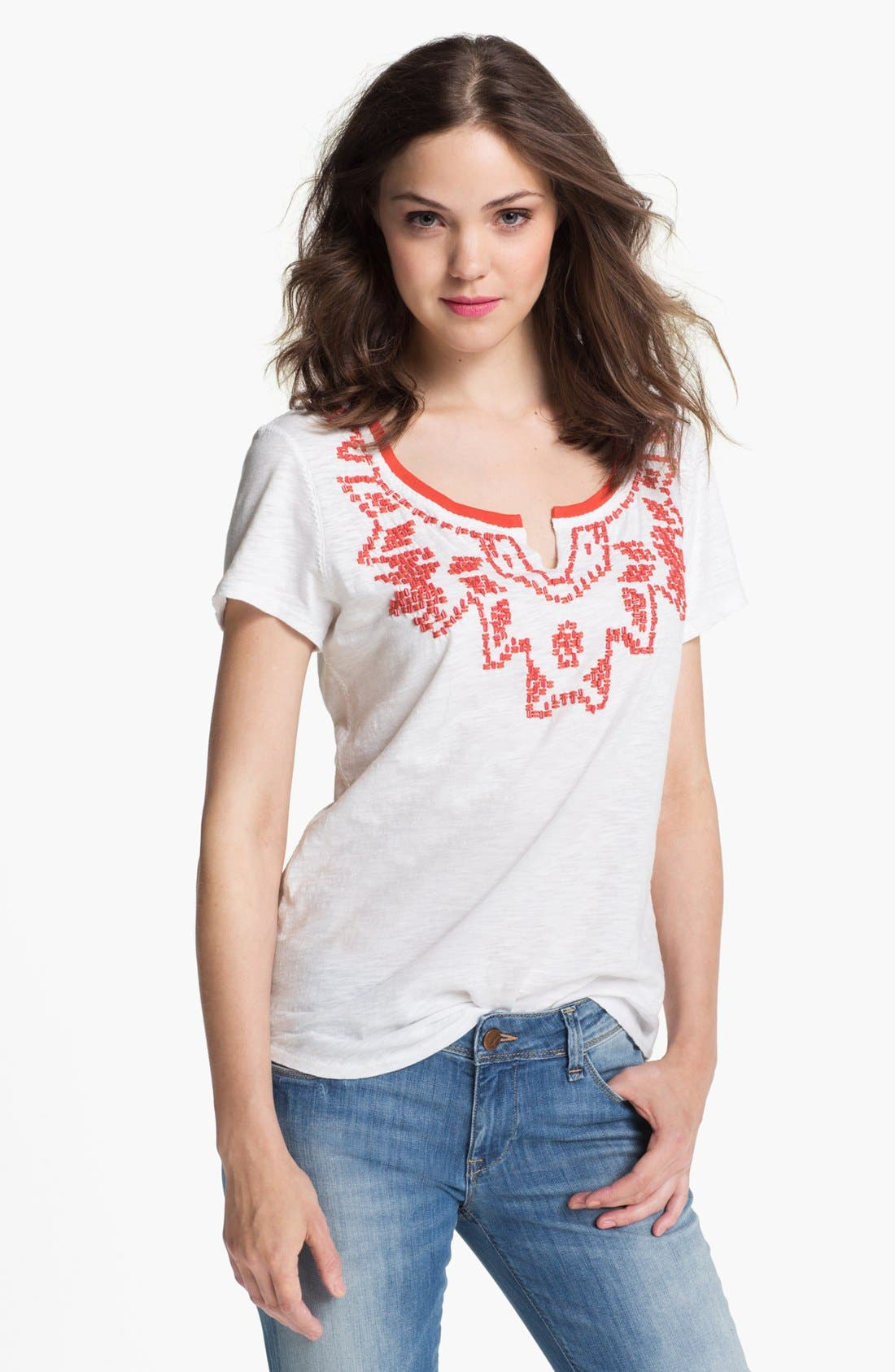 Alternate Image 1 Selected - Lucky Brand 'Tanya' Beaded Tee (Online Exclusive)